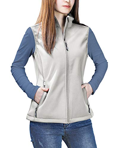 Outdoor Ventures Women's Mia Lightweight Sleeveless Fall Windproof Soft Bonded Fleece Softshell Zip Vest
