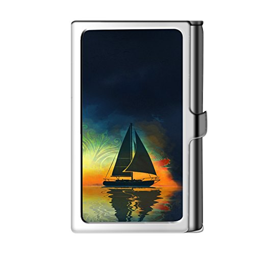 FJ Belly Popular Business Card Holder, Sea Sailboat Pattern Design Stainless Steel Material Business Card Case (Box Sailboat Shadow)