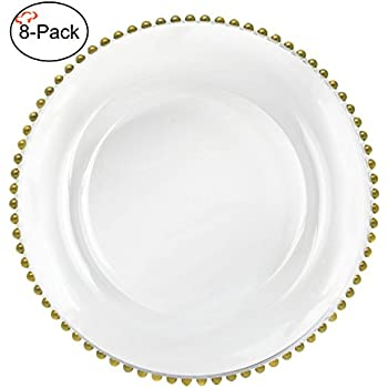 Amazon.com | Tiger Chef 13-inch Clear Round Beaded Glass Charger ...