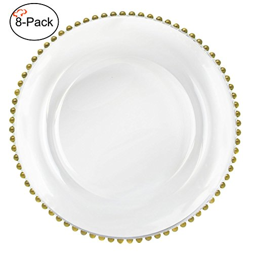 Tiger Chef 13-inch Clear Round Beaded Glass Charger Plates Set of 2,4,6, 12 or 24 Dinner Chargers 8-Pack (8, - Beaded Glass Charger