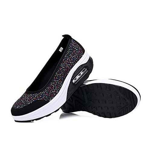 Angelliu Kvinna Tillfälliga Bekväma Arbetsskor Plattform Sneakers Båt Skor Svart
