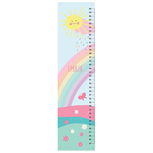 Personalized Canvas GROWTH CHART, Pastel Rainbow - Girls Bedroom Decor, Baby Shower Gift