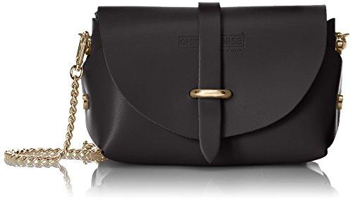 CTM Clutch bandolera para mujer, pequeno bolso con cinturon de hombro, piel genuina hecho en Italia - 18x11x9 Cm Negro (Nero)