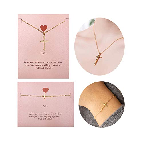 Your Always Charm Faith Cross Bracelet,Religious Meaningful Gifts for Best Friend (G:Gold Faith Necklace and Bracelet)