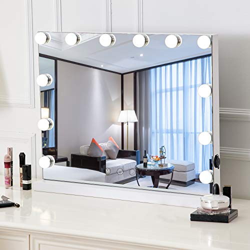 HOMPEN Vanity Mirror with 12 Lights, Hollywood Style Makeup Mirror with Touch Control Design, Tabletop Vanity Mirrors-L22.8''x H18.1'' - Furniture Style Vanities