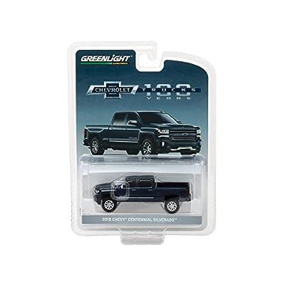 2018 Chevrolet Silverado Centennial Edition Metallic Blue Hobby Exclusive 1/64 Diecast Model Car by Greenlight 29917