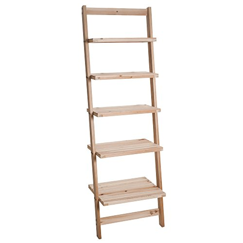 Rustic Pine Bookcase - Lavish Home Book Shelf for Living Room, Bathroom, and Kitchen Shelving, Home Décor by 5-Tier Decorative Leaning Ladder Shelf- Wood Display Shelving