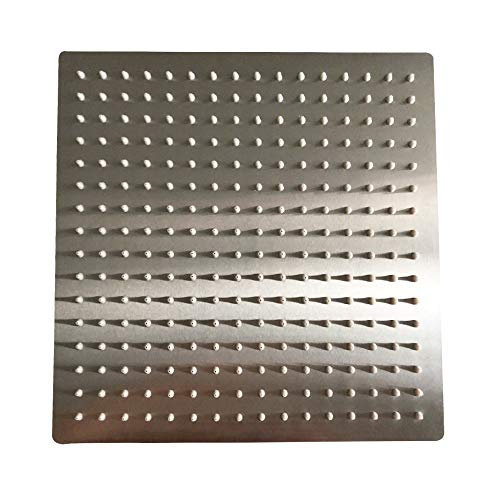 Besy 12 Inch Rain Shower Head 12 Square Rainfall High Pressure Stainless Steel Bath Shower Head 1 16 Ultra Thin Waterfall Full Body Coverage With Silicone Nozzle Non Fingerprint Brushed Finish