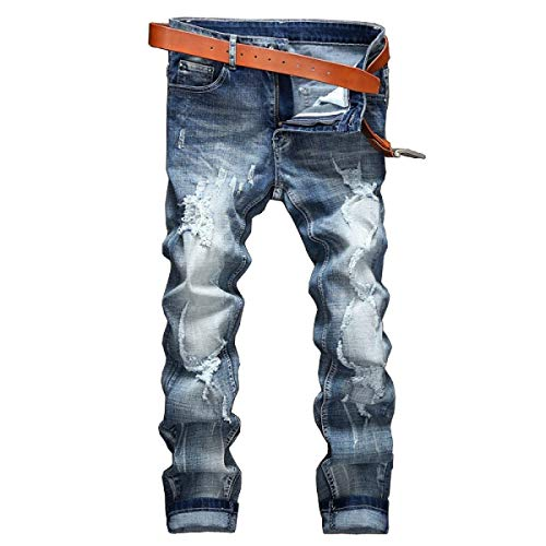 Slim A Bobo Da 88 Strappati Blu Stretch Regular Cinturino Eleganti Senza Media Jeans Uomo Dritti Especial Estilo Vita rHgYEwHq