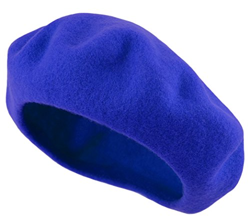 Deewang Women's Men's Solid Color Plain Wool French Beret One Size (Royal Blue) -