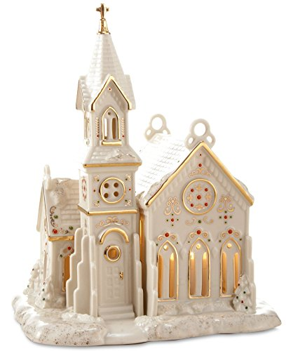 Lenox Porcelain Mistletoe Park Village Treasures Collection 8-in Lighted Village Church