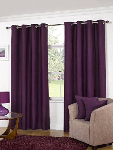 K LIVING Aubergine Manhattan Plain Panama Unlined Eyelet Curtains - Size: 45