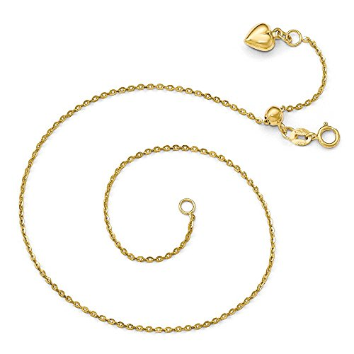 Black Bow Jewelry 14k Yellow Gold Dangle Heart Adjustable Cable Chain Anklet, 11 Inch