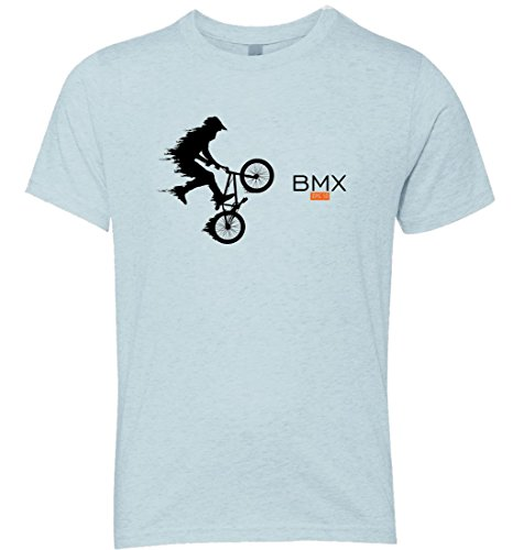 Fast BMX Extreme Action On Air Skilled Rider Sport Bicycle Softstyle Kid's Tshirt (Large, Blue) (Halloween En Estados Unidos)