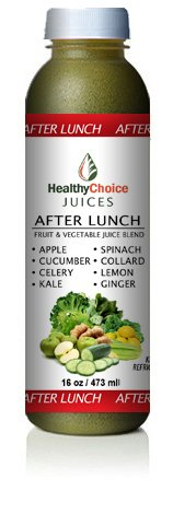 Healthy Choice Juices - After Lunch - Apple, Cucumber, Celery, Kale, Spinach, Collard Greens, Lemon, Ginger Juice - 6 Bottles