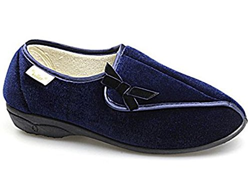 Ladies Wide Fit Fleece Lined Diabetic Orthopaedic Velcro Fastening Comfort Slippers Shoes Dr Keller Dr Hilda GENUINE Navy anU263PQ