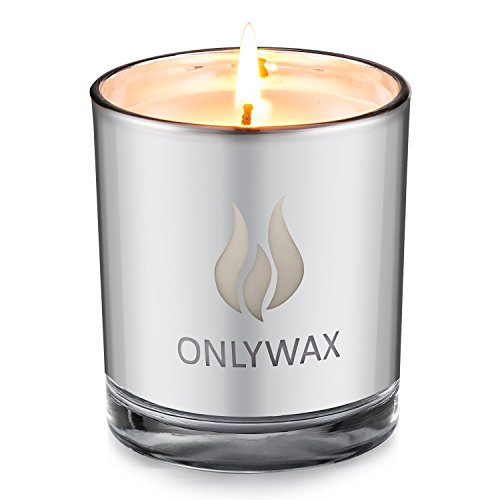 Onlywax Lavender Scented Candle 100% Soy Wax Silver Plating Glass Jar. Unique and Amazing Smelling Spa Candles.Perfect Votive Gift for Wedding, Party, SPA, Zen, Reiki. 8.5 oz.