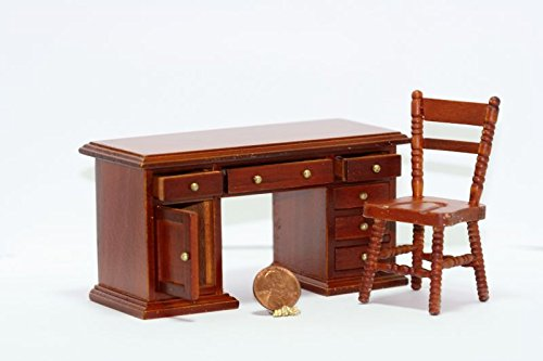 Dollhouse Miniature 1:12 Scale Cherry Wood Desk & Chair (Cherry Game Chair)