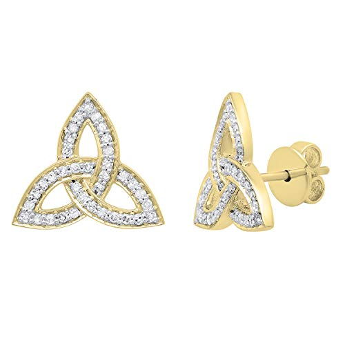 Dazzlingrock Collection 0.30 Carat (ctw) 14K Round White Diamond Ladies Trinity Knot Stud Earrings 1/3 CT, Yellow Gold ()