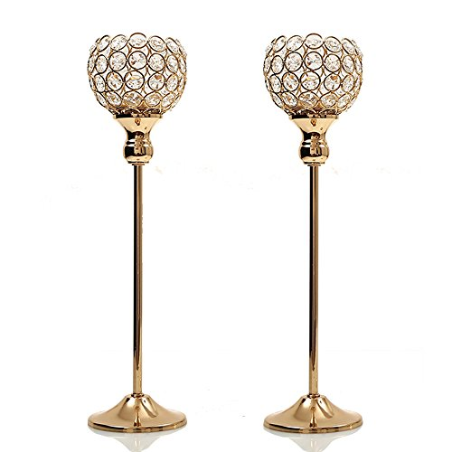 VINCIGANT Set of 2 Crystal Modern Candlesticks for Anniversary Celebration Wedding Coffee Table Decorative Centerpiece (Wedding Candlesticks)