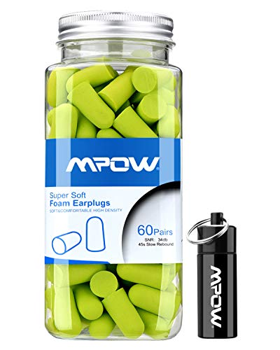Mpow Foam Earplugs with Aluminum Carry Case, 32dB NRR Ear Plugs, 60 Pairs Soft Earplugs Noise Reduction for Hearing Protection, Earmuffs, Hunting Season, Sleeping, Working, Shooting, Travel