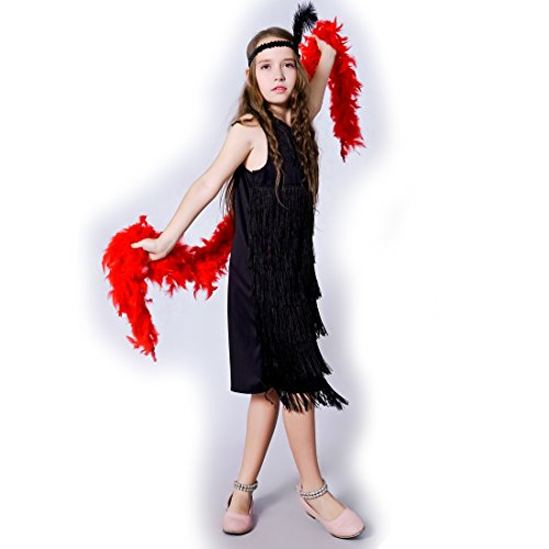 flatwhite Girl 's Fashion Flapper Satin Dress Costume For Children (7-9 Y, (Black Flapper Dress Halloween Costumes)