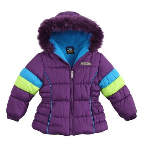 Pacific Trail Girls Purple Color Block Winter Coat, used for sale  Delivered anywhere in USA