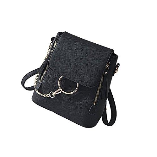 Adi Designs Backpack (ADI Fashion Women Crossbody Backpack Leather Shoulder Bag Ladies Cute Chain Satchel Bag (black))