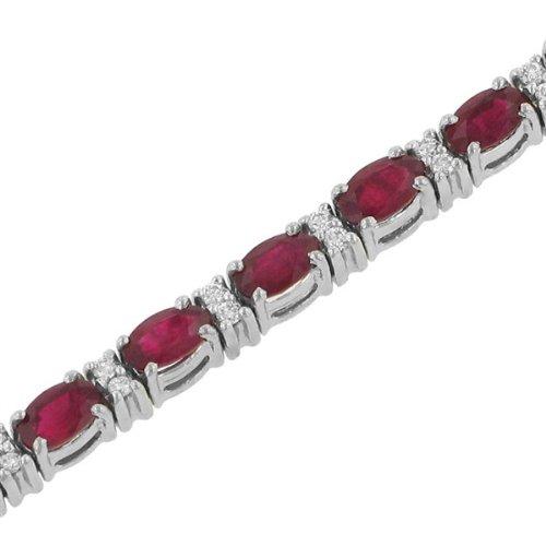 Prong Set Oval Ruby (7.82ct) & Round Diamond (.58ct) Bracelet