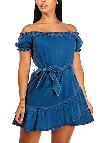 ModaXpressOnline Casual Med Wash Off Shoulder Short Sleeve Ruffle Details Asymmetrical Denim Dress 10171N ()