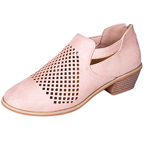 (LONGDAY ⭐ Women Boots Spring Ankle Hollow Out Leather Shoe Ankle Heeled Mid Heel Bootie Closed Toe Leather Boot Slip On Pink)