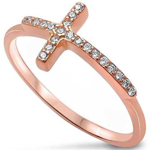 925 Sterling Silver Sideways Cross Ring Rose Tone Rhodium Plated Pave Clear CZ