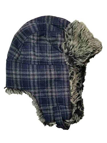 - Men's Blue Grey Plaid Fur Trimmed Peruvian Trapper Beanie Stocking Cap Hat