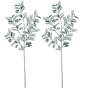 "windiy Supla 2 Pcs Artificial Lambs Ear Leave Spray Artificial Greenery in Dusty Green Flocked 45"" Tall 204 Leaves for Holiday Greens Plants Floral Arrangement Bridal Bouquets 32"