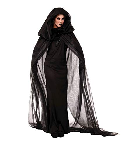 BADI NA Womens Girls Halloween Ghost Bride Witch Vampire Costume Cloak Dress Outfit Black XS