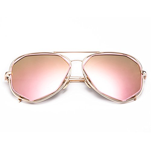 MT MIT Fashion Flat Mirrored Lens Irregular Full Metal Frame Aviator - Golden Colour Aviator