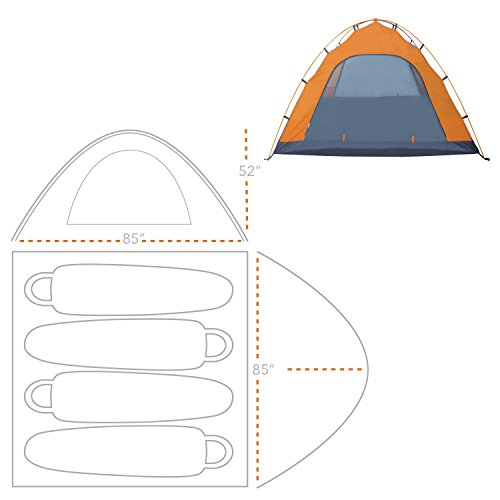 Winterial 4 Person Tent / Easy Setup Lightweight Camping and Backpacking 3 Season Tent / Compact