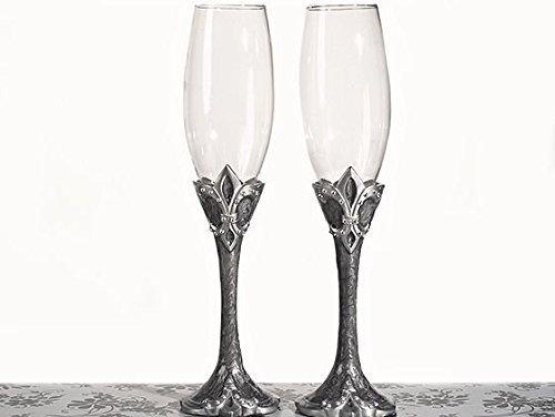 Platinum Fleur De Lis Collection Toasting Glasses by Cassiani