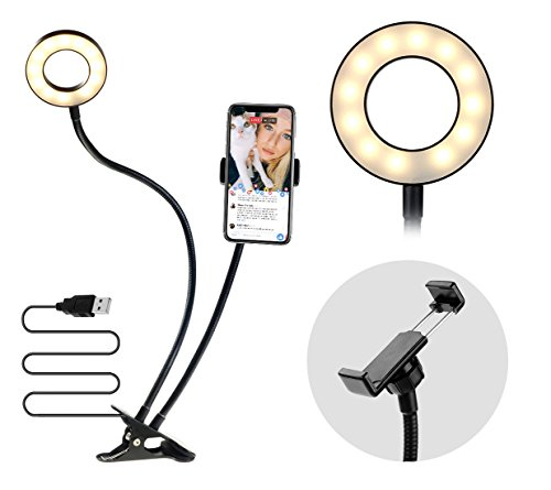 Cheap Selfie Sticks & Tripods MiMoo Cell Phone Holder with Selfie Ring Lights for Live Stream, Lazy..