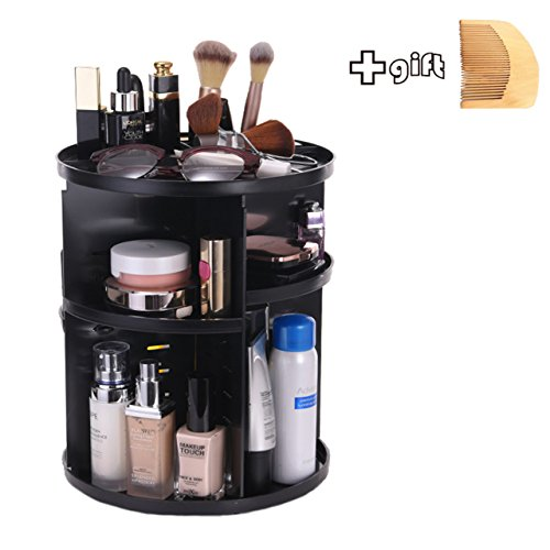 INVENTORY CLEANNING Cosmetic Organizer - Total Same Products as Others - Adjustable Makeup Shelf & Box Orgainize with Multi-function - Large Capacity 7 Layers,360 Degree Rotation,Black