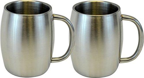 Southern Homewares Stainless Double Wall Steel Beer/Coffee/Desk Smooth Mug (Set of 2), 14 oz, - Timberline Steel Mug Stainless