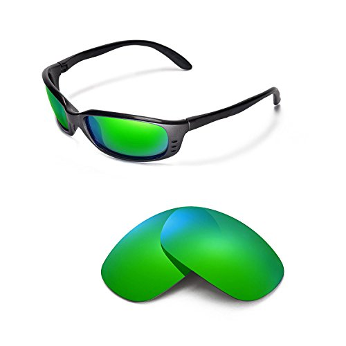 Walleva Replacement Lenses for Costa Del Mar Brine Sunglasses - Multiple Options Available (Emerald Mirror Coated - - Brine Lenses Costa