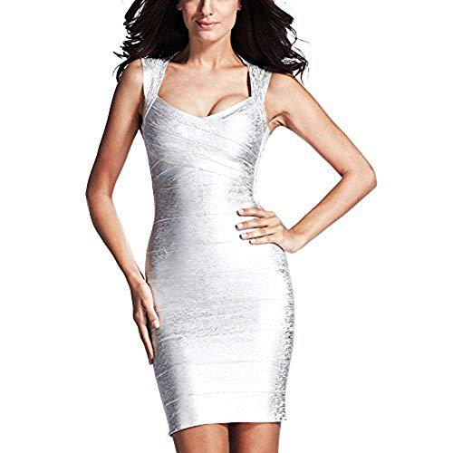 (HLBandage Sleeveless Metallic Foil Print Mini Rayon Party Bandage Dress (XL,)