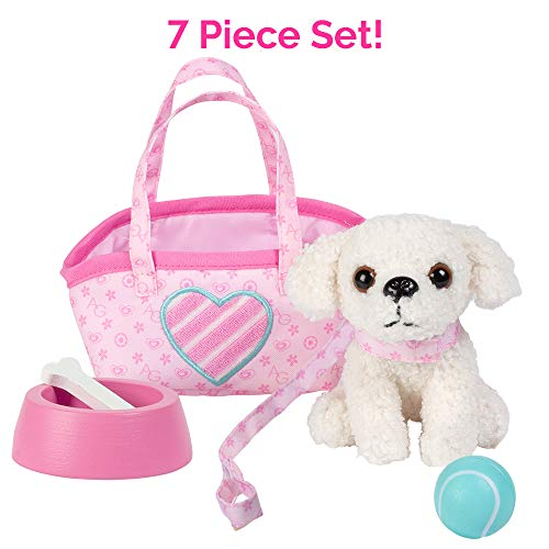 """Adora Amazing Pets """"Pixie the White Poodle"""" – 18"""" Doll Accessory includes 4.5 Dog, Dog Carrier, Collar, Leash, Ball, Wooden Bowl and Bone (Amazon Exclusive)"""