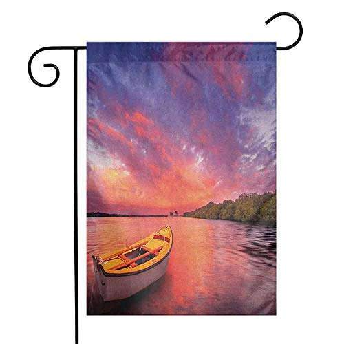 duommhome Sunset Garden Flag Enchanted Coast with a Rowboat Under Magical Hazy Sky Peaceful Nature Image Premium Material W12 x L18 Pink and Purple