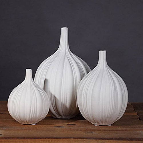 JIAAE European Modern Minimalist Pottery Vase Creative Ceramics Garlic Crafts High-End Ornaments For Home And Hotel (Set Of 3)