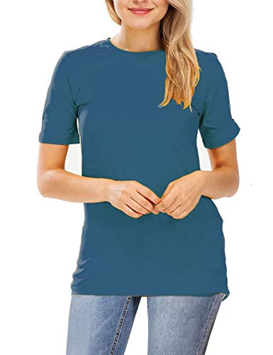 (Vuetique Women's Everyday Solid Crew Neck Short Sleeves Tee Shirt Sapphire M)