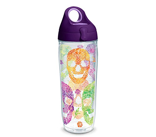 Tervis 1263322 Floral Skulls Insulated Tumbler with Wrap and Purple Lid, 24oz Water Bottle, Clear