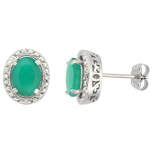 10K White Gold 0.01 cttw Diamond Natural Cabochon Emerald Post Earrings Oval 7x5 mm ()