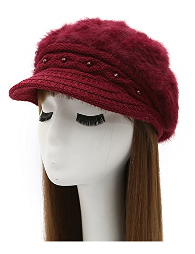 Epsion Women Winter Knit Crochet Newsboy Caps Lady Warm Pearl Knit Beanie Hat